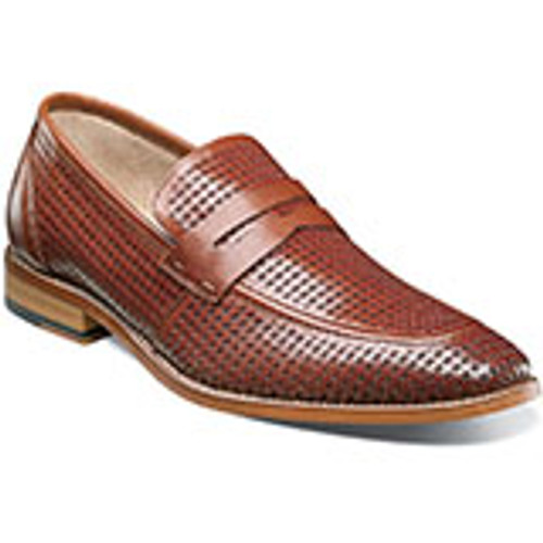 Incredible detailing on the Stacy Adams Belfair Moc Toe Penny Loafer is a perforated leather beauty you need for those fancy summer nights on the town. Moc toe penny loafer. Perforated genuine leather uppers with breathable leather linings. Fully cushioned insole with Memory Foam for added comfort. Non-leather outsole.