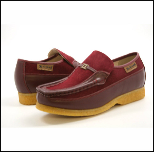 British Collection Power Old School-Burgundy Leather Suede