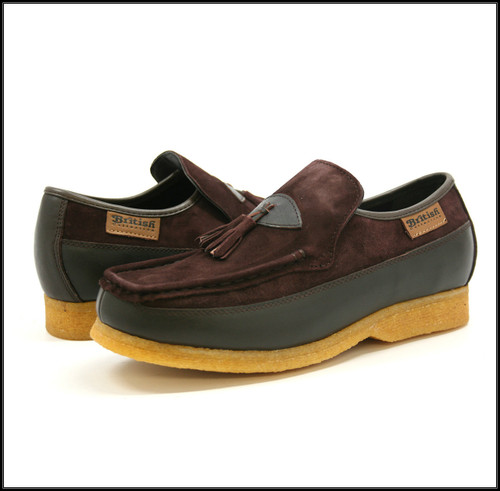 British Collection King Old School Slip-Brown Leather/Suede Shoes
