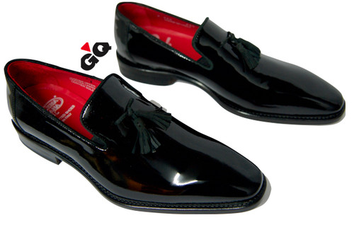 Unique patent leather slip on featuring upper tassel. Made in Italy.