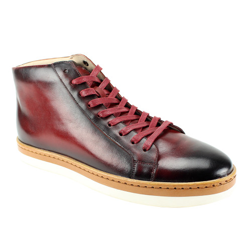 Pair these new leather sneakers with our suits for an elegant yet casual look that is found on the red carpets of today.  The rich painted leathers fit so well on the classic high top sneaker profile.  9 Nine eyelet lacing  Rubber sole with leather detail  Ankle height