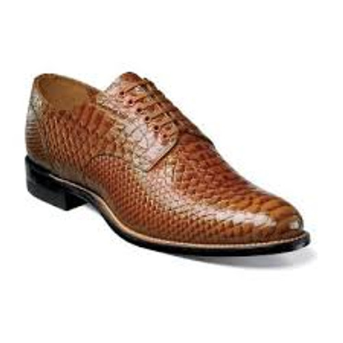 Known fondly by long-time Stacy Adams fans as the ‰ÛÏOriginal Stacy Adams Biscuit Toe,‰Û the entire upper of this dress shoe is made of anaconda print leather. The compelling texture is magnified by the beautiful hues of the leather itself.The Madison is a plain toe lace-up.The upper is kidskin leather and anaconda print leather.The linings are leather.The sole is leather and is crafted with genuine Goodyear welt construction.