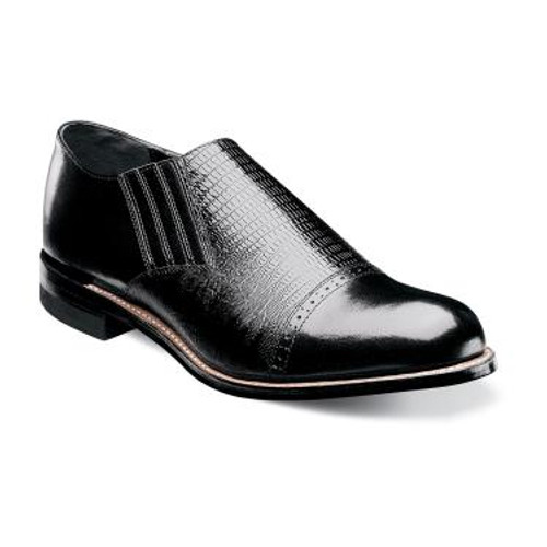 The Madison Twin Gore Cap Toe Slip-on pulls together style influences from all throughout Stacy Adams history for a compelling and memorable design. Complete with a lizard print upper, this shoe is perfect for a man with a taste for the iconic.The Madison is a cap toe slip-on.The upper is leather and kidskin leather.The linings are kidskin leather.The sole is leather and is crafted with genuine Goodyear welt construction for comfort and durability.