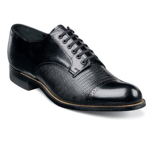 Known fondly by long-time Stacy Adams fans as the ‰ÛÏOriginal Stacy Adams Biscuit Toe,‰Û the lizard print version of the Madison‰Ûªs got it all: rich leather, exotic print, and a myriad of color options that never fail to impress.The Madison is a cap toe lace-up.The upper is kidskin leather with lizard print leather.The linings are leather.The sole is leather and is crafted with genuine Goodyear welt construction.