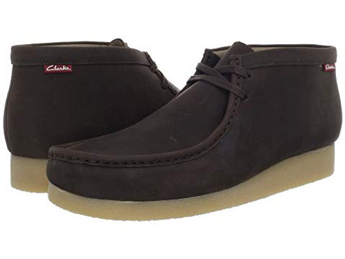 The Clarkså¨ Stinson Hi chukka will quickly rise through the ranks to become one of your favorites.Handsome leather upper for an inspiring look.Two-eye lace-up front closure.Closed toe design with classic moc stitching.Smooth fabric lining for a great in-shoe feel.Cushioned synthetic footbed for a comfortable wearing experience.Genuine plantation crepe outsole delivers all-day comfort.Imported.Product measurements were taken using size 11.5, width D - Medium. Please note that measurements may vary by size.Weight of footwear is based on a single item, not a pair.Measurements:Heel Height: 1 inWeight: 1 lb 1 ozShaft: 4 inPlatform Height: 1‰ã2 in