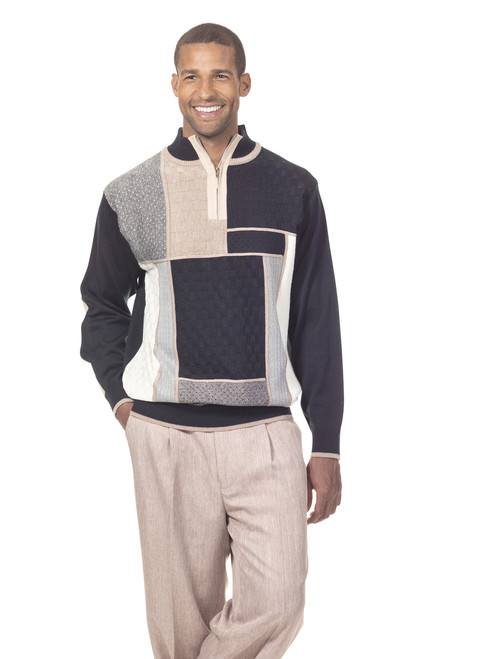 MODERN BLOCKS STYLE ‰ÛÒ Aesthetically beautiful designer sweaters made with great attention to detail. The colors on the front are carefully chosen to match the main color of the sweater. The quarter zip sweater makes it easy to look great.STYLISH FOR ANY OCCASION - This sweater's style adds polish to your dressier looks. Or, gives some extra personality to a more casual shirt and dress pants combo. The modern pattern is guaranteed to make you stand out. You can wear them as casual attire, dressy and business casual or semi-formal.