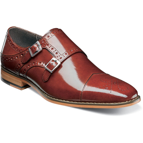 The double monk strap just might be the coolest of all the classic styles. With its sleek profile, medallion toe, perfing details, high sheen (luster) buffalo upper and twin antique silver buckles, the Tayton takes that cool and moves it up yet another notch.Buffalo leather upper for added luster (High sheen (gloss) buffalo leather)Fully cushioned insole with Memory Foam adds all-day comfortLeather lining for comfort and breathabilityNon-leather (Leather-look) dress Sole (Flexible, Durable)