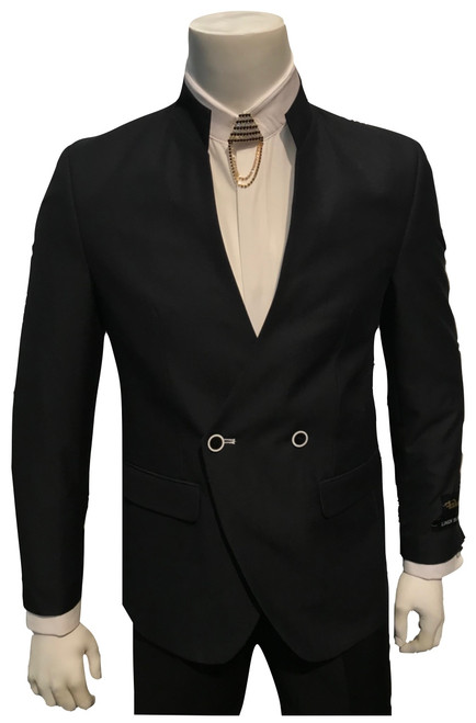 Make your style count the first time and every time by wearing trendy fashion suits made by Falcone. This fancy black Mandarin collar breasted suit has side vents in the back and flat front style solid color pants that will really set off your look.Jacket: Double Breasted, Two Button, Mandarin CollarPants: Flat Front, Half Lined, Expandable WaistFabric: Solid 80% Polyester 17% Rayon 3% Linen