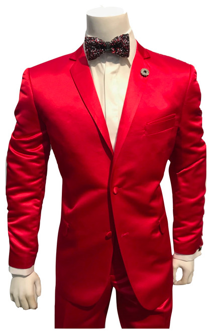 Make your style count the first time and every time by wearing trendy fashion suits made by Falcone. This fancy red suit has side vents in the back and flat front style solid color pants that will really set off your look.