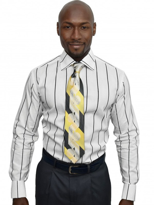Stripe Damask ShirtHandsomely tailored from a premium fabric of colorful wide stripes alternating with a tonal damask pattern in white - this shirt is ready for any event.100% Cotton woven fabricTrim FitBig and Tall available neck 18.5 and upSpread CollarFrench CuffPlain Front