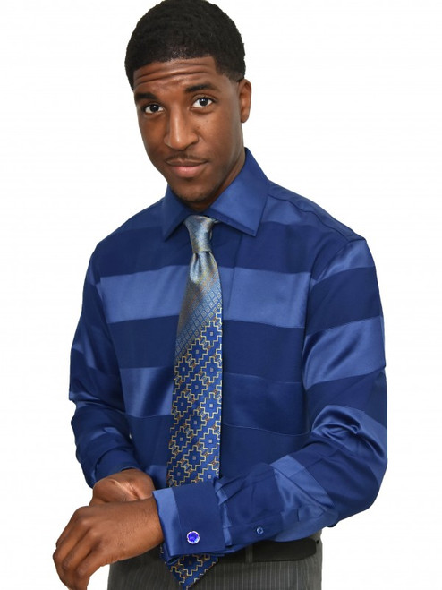 Satin Stripe ShirtTonal shimmering satin and matte stripes alternate over this shirt‰Ûªs fluid fabric. Easy, free-flowing fabric weave will inspire a sophisticated night out.100% Cotton woven fabricTrim FitBig and Tall available neck 18.5 and upSpread CollarFrench CuffFly Front