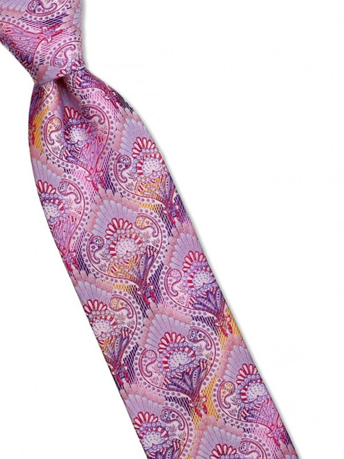 An art nouveau floral pattern is overlaid on subtle ombre stripes on our 100% silk woven tie100% SilkIncludes Pocket Square61 inches long3 1/2 inches wid