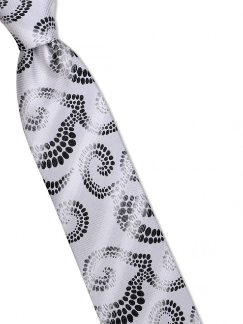 Oceanic swirls roll and shimmer like waves on this 100% silk woven tie100% SilkIncludes Pocket Square61 inches long3 1/2 inches wid