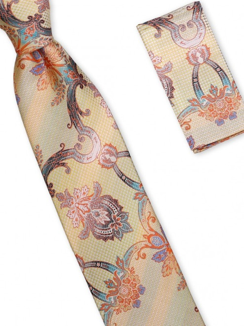 A lively Renaissance motif is modernized on this 100% silk woven tie100% SilkIncludes Pocket Square61 inches long3 1/2 inches wid