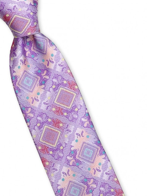 Large vintage medallions are peppered with bits of bright color on our 100% silk woven tie