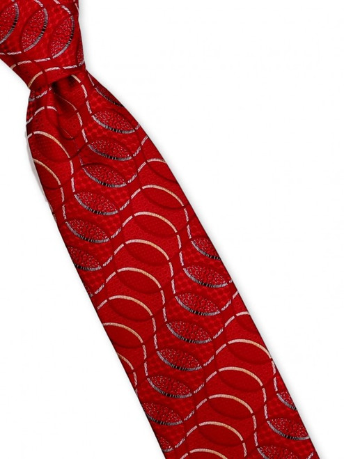 Look closely to at the tiny patterns within the optic waves in this dazzling 100% silk woven tie