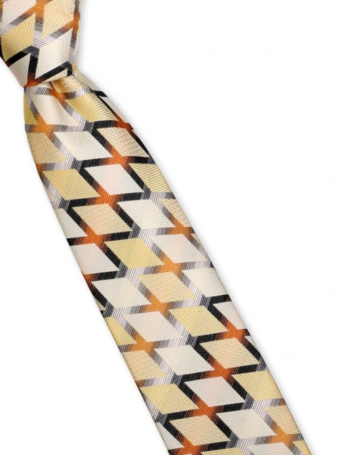 A bold grid of solid weave and geometric patterns reminds us of african wax prints in this wonderful 100% silk woven tie
