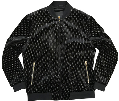 Velour Dot Bomber Jacket made by Cigar.