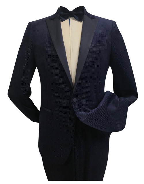 Diego |2 Piece Suit | Classic Fit | 1 Velour pants, 1 Velour Peak Lapel Jacket, Color NAVY