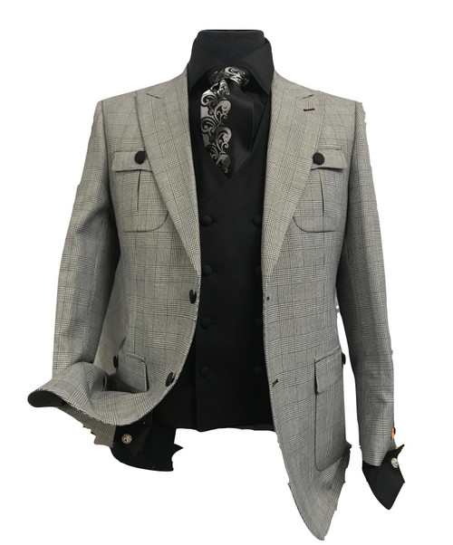 Jacopo |3 Piece Suit | Classic Fit | 1 Pleat Pant 2 Button Peak Lapel Double Pocket Patch Houndstooth 
