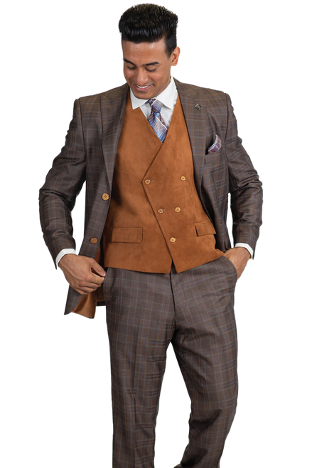 Stacy Adams Is Featuring A Double Button Jacket And Double Breasted Vest, Suit Pieces Can Be Worn Together Formally Or Separately Mixed And Matched With More Casual Items.Single Breasted, Two Button, Peak Lapel JacketDouble Breasted, Five Button, V-Neck, Cloth Back VestFlat Front, Half Lined, Expandable Waist PantsPlaid 80% Polyester 20% Rayon Fabric
