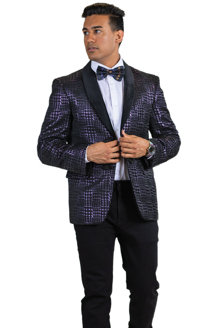 Solidify your signature style with this bold Houndstooth dinner jacket from Blu Martini.It features a Houndstooth pattern and a modern slim fit for a standout look.Single Breasted, Two Frog Closures, Shawl Collar JacketAvailable In Raspberry Or Gold ColorFancy Houndstooth 92% Polyester 8% Metallic Fabric