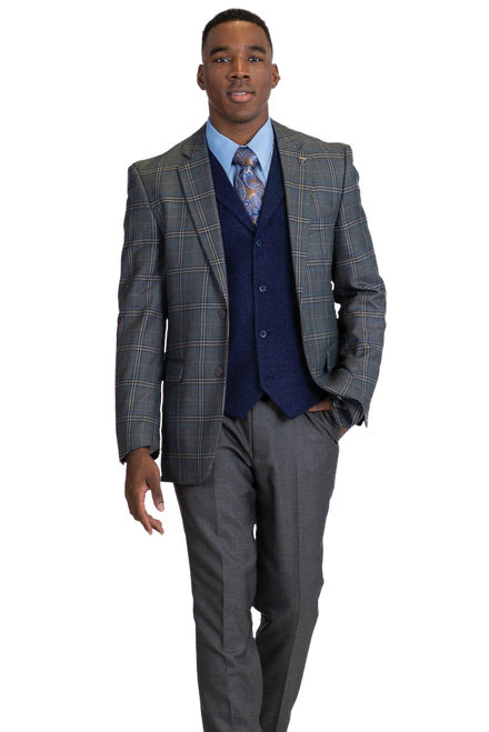 Stacy Adams Is Featuring A Double Button Jacket And Single Breast Vest, Suit Pieces Can Be Worn Together Formally Or Separately Mixed And Matched With More Casual Items.Single Breasted, Two Button, Notch Lapel JacketSingle Breast, Four Button, Notch Lapel, Cloth Back VestFlat Front, Half Lined, Expandable Waist PantsAvailable In Grey and Brown ColorPlaid 80% Polyester 20% Rayon Fabric