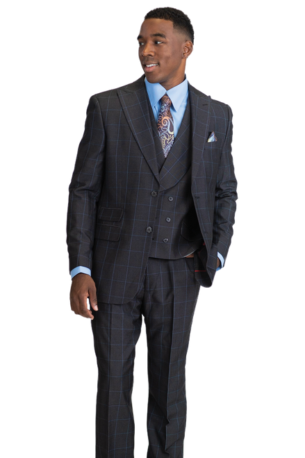 Falcone Is Featuring A Double Button Jacket And Double Breast Vest, Suit Pieces Can Be Worn Together Formally Or Separately Mixed And Matched With More Casual Items.Single Breasted, Two Button, Peak Lapel JacketDouble Breast, Six Button, Shawl Collar, Cloth Back VestFlat Front, Half Lined, Expandable Waist PantsAvailable In Blue and Black ColorWindowpane 70% Polyester 30% Rayon Fabric