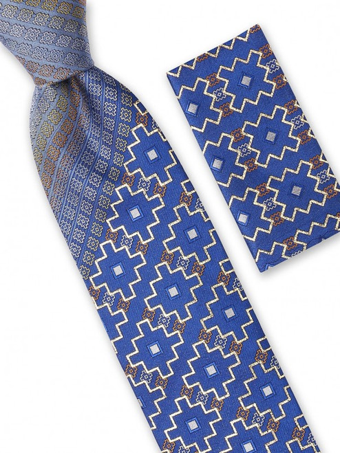 A detailed weave of tile like shapes accented with shimmering lurex that will look sharp at any event on this 100% silk woven Big Knot Tie and Hanky Set, available in five different colors and variations.100% SilkIncludes Pocket Square61 inches long3 1/2 inches wide