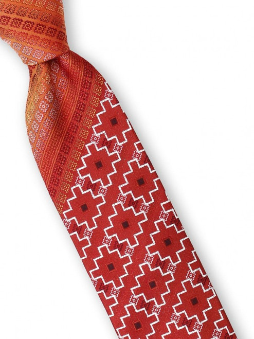 A detailed weave of tile like shapes accented with shimmering lurex that will look sharp at any event on this 100% silk woven Big Knot Tie and Hanky Set, available in five different colors and variations.