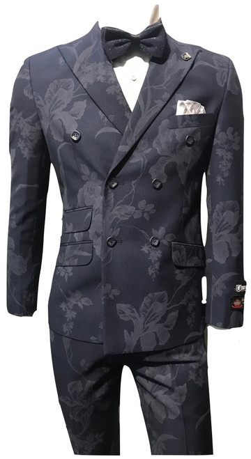 Stacy Adams Is Featuring A Double Breasted Jacket.Suit Pieces Can Be Worn Together Formally Or Separately Mixed And Matched With More Casual Items.Double Breasted, Four Button, Peak Lapel Jacket.Flat Front, Half Lined, Expandable Waist Pants.Available In Black and Navy Color.