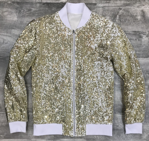 The gold sequin style on this bomber jacket from Blu Martini adds a bold pop of style to any special occasion, finished off with two slant pockets at the sides.LightweightFront zip closurePolyesterDry cleanImported