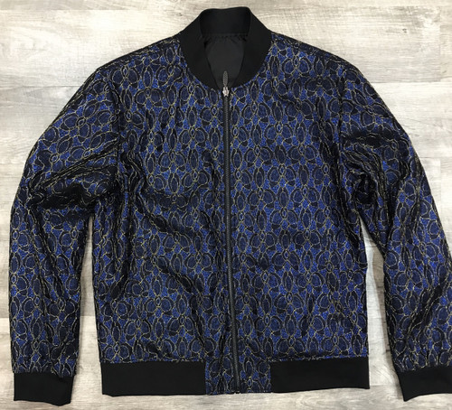 The jacquard sequin style on this bomber jacket from Blu Martini adds a bold pop of style to any special occasion, finished off with two slant pockets at the sides.
