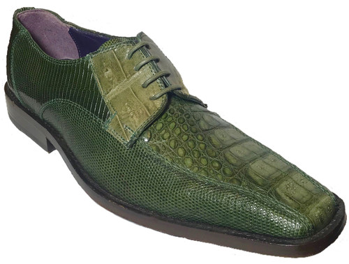 """Gino"" by David x a croodile and lizard shoe in Olive"