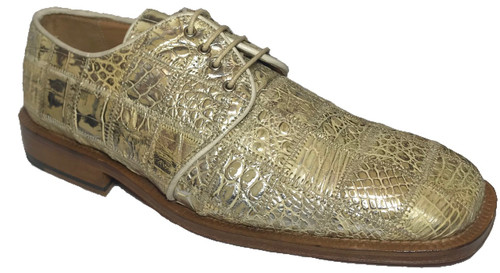 """""""Capital"""" by David Eden, a genuine crocodile with patchwork in Tan. Prices are exclusive to online sales."""