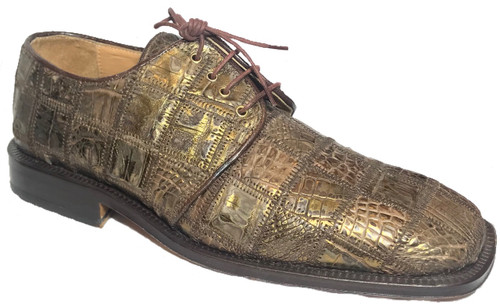 """""""Capital"""" by David Eden, a genuine crocodile with patchwork in Tabac. Prices are exclusive to online sales."""