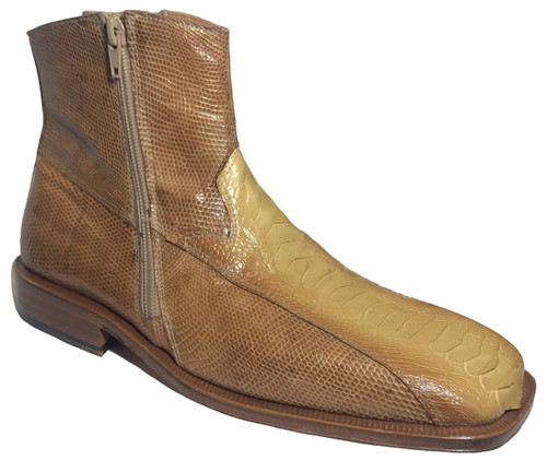 """West"" by David Eden, a genuine crocodile with two side zippers in Taupe/Bone. Prices are exclusive to online sales."