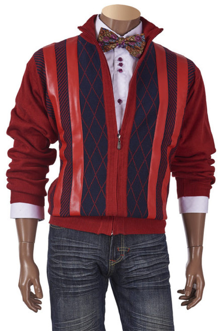 Full Zip Striped Sweater With Leather Front By Inserch.