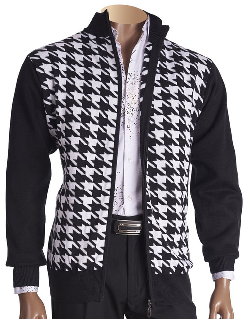 Full Zip Houndstooth Sweater By Inserch.