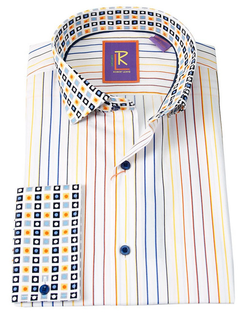 Robert Lewis Uptown Dress Shirt.  100% Cotton Contrast Spread Collar. Button Placket French Cuff. Tie not included.