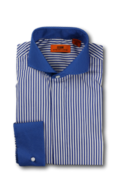 Classic Bengal Stripes on the body are playfully mixed with a microdot pattern at the collar and cuffs for an unexpectedly handsome shirt. In a selection of primary colors, this shirt will brighten any look this season. Unexpectedly elegant.
