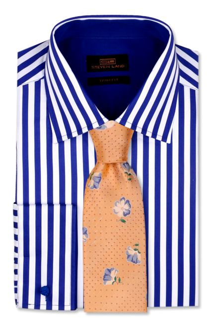 Brightly printed Bengal stripes are printed on a white sateen ground. Solid color contrast trims at the collar and cuffs add visual interest.100% Cotton PrintClassic FitSpread CollarPlain FrontConvertible cuffTie Sold Separately