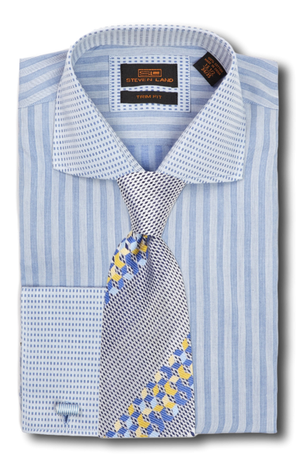 This deceptively subtle dress shirt features a geometric jacquard weave that will pair handsomely with any of our suits and ties. You will enjoy wearing this shirt for its elegance and versatility.100% Cotton Woven fabricTrim Fit, slimmer through the bodyCutaway Collar, Plain Front, French Square CuffTie sold separately