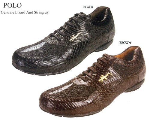"These exceptional quality stingray and lizard skin sneakers are handmade by one of the finest exotic sneakers manufacturers, Belvedere. Belvedere offers sensational exotic skin sneakers that are completely hand crafted and hand stitched. The inside is a butter soft lambskin leather for superior comfort and the sole is handstitched in leather for excellent traction. The insole is cushioned for added shock absorption. These sneakers will fit a Medium width up to a ""D"" width due to the soft lambskin interior leather.