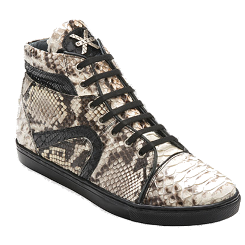 """These exceptional quality python Skin Sneakers are handmade by one of the finest exotic Sneakers manufacturers, David X. David X offers fashionable exotic Sneakers that are completely hand crafted and hand stitched. The inside is a butter soft lambskin leather for superior comfort and the sole is hand stitched in leather for excellent traction. The insole is cushioned for added shock absorption. These Sneakers will fit a Medium width up to a """"D"""" width due to the soft lambskin interior leather. David X doesn't use the """"painted-on"""" process to color these Sneakers like other manufacturers; instead, they use a special tanning process to glaze the premium grade python.Color: NaturalStyle: MottaMaterial Upper: Genuine PythonMaterial Lining: Genuine Leather For Added Comfort And DurabilityMaterial Sole: Genuine Leather For Added Comfort And Durability"""