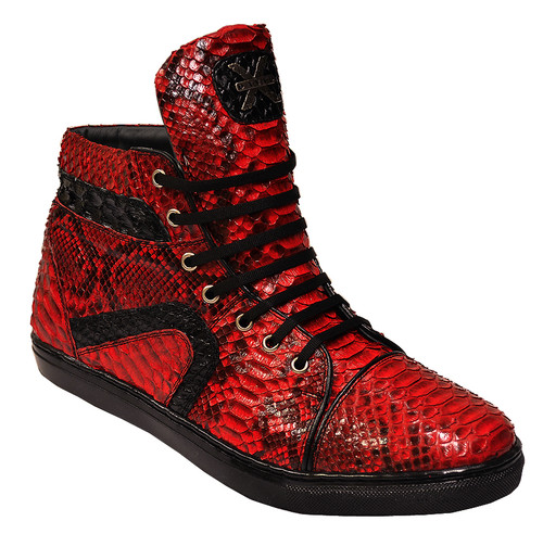 """These exceptional quality python Skin Sneakers are handmade by one of the finest exotic Sneakers manufacturers, David X. David X offers fashionable exotic Sneakers that are completely hand crafted and hand stitched. The inside is a butter soft lambskin leather for superior comfort and the sole is hand stitched in leather for excellent traction. The insole is cushioned for added shock absorption. These Sneakers will fit a Medium width up to a """"D"""" width due to the soft lambskin interior leather. David X doesn't use the """"painted-on"""" process to color these Sneakers like other manufacturers; instead, they use a special tanning process to glaze the premium grade python.Color: RedStyle: MottaMaterial Upper: Genuine PythonMaterial Lining: Genuine Leather For Added Comfort And DurabilityMaterial Sole: Genuine Leather For Added Comfort And Durability"""