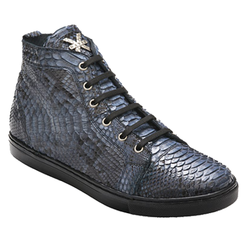 """These exceptional quality python Skin Sneakers are handmade by one of the finest exotic Sneakers manufacturers, David X. David X offers fashionable exotic Sneakers that are completely hand crafted and hand stitched. The inside is a butter soft lambskin leather for superior comfort and the sole is hand stitched in leather for excellent traction. The insole is cushioned for added shock absorption. These Sneakers will fit a Medium width up to a """"D"""" width due to the soft lambskin interior leather. David X doesn't use the """"painted-on"""" process to color these Sneakers like other manufacturers; instead, they use a special tanning process to glaze the premium grade python.Color: Orange, Taupe, Blue, BlackStyle: MezzoMaterial Upper: Genuine PythonMaterial Lining: Genuine Leather For Added Comfort And DurabilityMaterial Sole: Genuine Leather For Added Comfort And Durability"""
