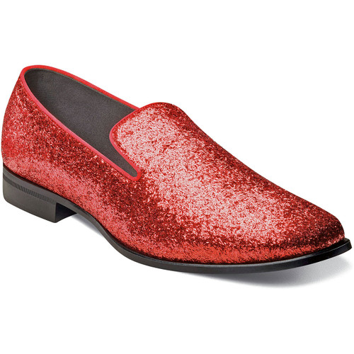 We all need a little Swank in our lives. That is why Stacy Adams created this collection of luxurious smoking slippers. The Stacy Adams Swank Glitter Slip On features a full glitter upper in silver or red, a dress style sole, the comfort of a Memory Foam footbed, and satin fabric linings. With the Glitter, it‰Ûªs your time to shine. Full glitter textile upperSatin fabric liningsFully cushioned insole with Memory Foam for all-day comfortNon-leather outsole