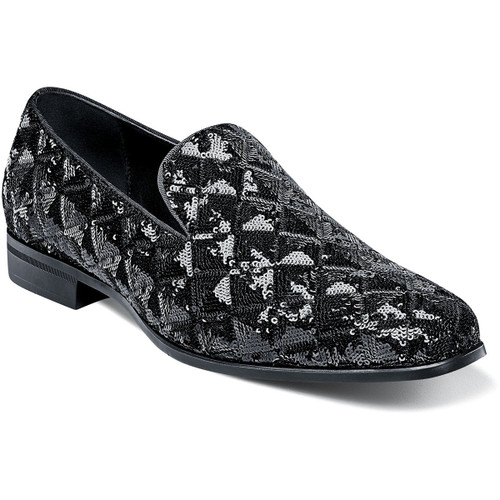 We all need a little Swank in our lives. That is why Stacy Adams created this collection of luxurious smoking slippers. Few things in this world can match the look of black sequins and with its rombo pattern and unique sparkle, the Stacy Adams Swank Sequined Slip On is unmistakably good looking. Fully sequined upperSatin fabric liningsFully cushioned insole with Memory Foam for all-day comfortNon-leather outsole
