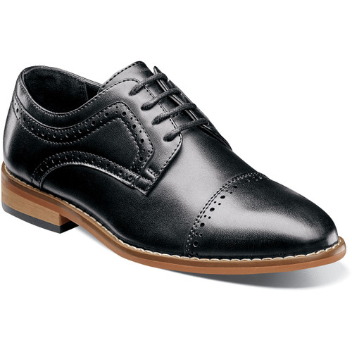 Start him out right with this updated classic. The Stacy Adams Dickinson Cap Toe Oxford features intricate perfing details on the toe and collar, a dress style sole, and a stacked style heel. This is one cap toe that will have any young man looking like he was born with a natural sense of style. Durable man-made upperSynthetic liningsFully cushioned insoleNon-leather outsoleThis is a child's size shoe, not an adult style